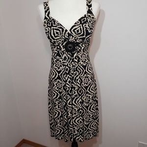 Enfocus Studio tan and black sleeveless dress sz 6